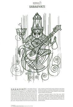 Sanjay Patel : Sarasvati Hindu Deity: for my little saraswati Ganesha, Art Sketches, Art Drawings, Saraswati Devi, Bengali Art, Durga Painting, Line Art, Indian Illustration, Indian Folk Art