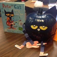 """Make a """"Pete the Cat"""" Pumpkin for Halloween Halloween Books, Holidays Halloween, Halloween Themes, Halloween Pumpkins, Halloween Crafts, Book Character Pumpkins, Book Character Day, Pumpkin Decorating Contest, Pumpkin Contest"""