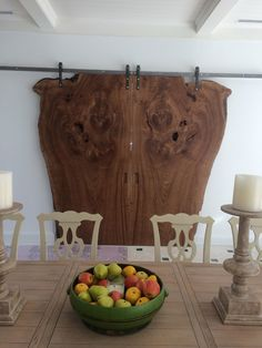 English Elm Book Matched Barn Doors by Hyland Cabinetry
