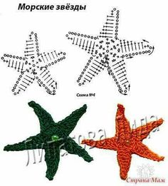 Irish lace, crochet, crochet patterns, clothing and decorations for the house, crocheted. Crochet Fish, Crochet Birds, Crochet Stars, Freeform Crochet, Crochet Motif, Irish Crochet, Crochet Flowers, Crochet Stitches, Crochet Applique Patterns Free