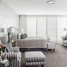 Silver and Gray Bedroom, Contemporary, bedroom, Highgate Home