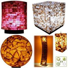 Lamps made from recycled coffee filters and pods
