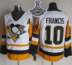 Penguins #10 Ron Francis White Black CCM Throwback 2017 Stanley Cup Finals Champions Stitched NHL Jersey