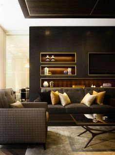 Modern look. Lighting, finishes, masculine room Stratton Street \ Squire and Partners Chic Living Room, Home Living Room, Living Room Designs, Living Room Decor, Living Spaces, Home Interior, Living Room Interior, Interior Architecture, Brown Interior