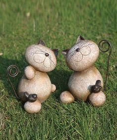 Look at this #zulilyfind! Standing Cat & Bird Garden Figurine Set #zulilyfinds