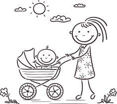 Mãe e bebé - ilustração de arte vetorial