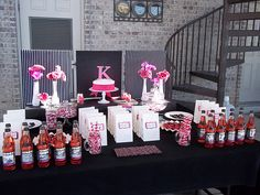 hot pink and black birthday party
