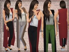 Designer Outfit (Jumpsuit) with Long Cardigan by DarkNighTt at TSR via Sims 4 Updates