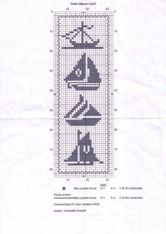 Sailing, knitting crochet beads etc Marque-pages Au Crochet, Filet Crochet Charts, Crochet Motifs, Knitting Charts, Cross Stitch Sea, Cross Stitch Bookmarks, Crochet Bookmarks, Funny Cross Stitch Patterns, Cross Stitch Designs