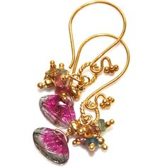 Carved Watermelon Tourmaline Slice Earrings Rainbow Gold Vermeil Handcrafted Gemstone Jewelry, #watermelon, #tourmaline, #earrings, #gold, #rainbow, #slice