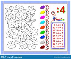 Illustration about Vector image. Developing children skills for drawing and coloring. Scale to any size without loss of resolution. Illustration of game, arithmetic, mathematical - 142454285 Division, Math Addition Worksheets, Home Learning, Arithmetic, Math For Kids, Exercise For Kids, Printable Worksheets, Cartoon Images, Textbook