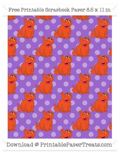 Free Amethyst Polka Dot Large Snuffy Pattern Paper - Sesame Street