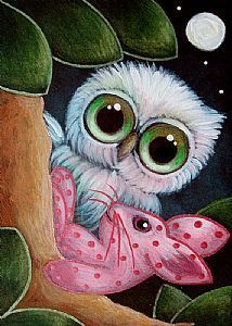 Detail Image for art FANTASY OWL WITH FRIENDLY PINK BUNNY RABBIT TOY...LET'S PLAY