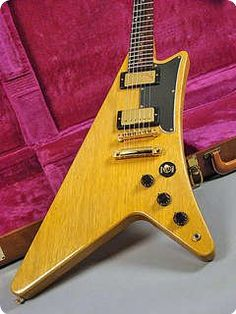 Gibson Moderne, 1983, Made with Korina Wood - Very Rare.  In fact, this is a reissue of a guitar no one is sure was ever produced in the first place.  I've heard that Billy Gibbons of ZZ Top claims to have one.  We'd love to see it Mr. Gibbons!