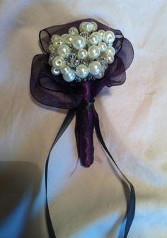 Pearl bouquet/boutonniere :  wedding black bouquet bridesmaids diy purple white Boutonniere