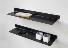 Set of 2 TEEline 6015 wall shelves Black Metal Shelf, Black Shelves, Small Shelves, Metal Shelves, Floating Shelves, Closet Shelves, Bookcase Shelves, Shelving, Shelf Design