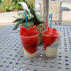 Junkaroo Rush ~ half piña colada half strawberry daiquiri with a floater of rum and some Bahamian liquor. Best drink ever!
