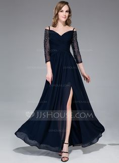 A-Line/Princess Off-the-Shoulder Floor-Length Chiffon Tulle Evening Dress With Ruffle Beading Split Front (017045190) - JJsHouse