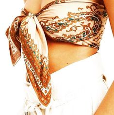 Silk scarf tied as bandeau top