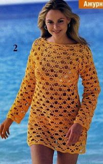 tunique jaune - has diagrams Beau Crochet, Pull Crochet, Mode Crochet, Crochet Cover Up, Irish Crochet, Bikini Crochet, Crochet Tunic, Crochet Clothes, Crochet Sweaters