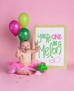 Watermelon Party  ONE in a Melon Sign  by PicketFenceArtist