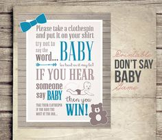 Don't Say Baby Shower Game Sign Boy Blue Tie by StudioTwentyNine
