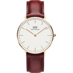 Daniel Wellington Classic Suffolk rose-gold and leather strap (€130) ❤ liked on Polyvore featuring jewelry, watches, charm watches, leather-strap watches, red jewelry, rose gold wrist watch and quartz movement watches