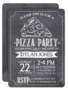 Chalkboard Pizza Party Invitation - love that hand drawn slice of pizza! Birthday Dinner Invitation, Dinner Invitation Wording, Pizza Party Birthday, Chalkboard Invitation, Dinner Invitations, Birthday Dinners, 2nd Birthday Parties, Invites, Birthday Recipes