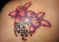 sea turtle tattoo with orchids