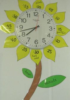 Flower Clock for learning about telling time/reading analog clock [Teaching Maths with Meaning: Maths Displays] Primary Teaching, Primary Maths, Teaching Time, Teaching Math, Teaching Clock, Teaching Ideas, Math Resources, Math Activities, Teaching Displays