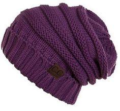 Unisex Soft Stretch Oversized Knit Slouchy Beanie (Dark Purple) More