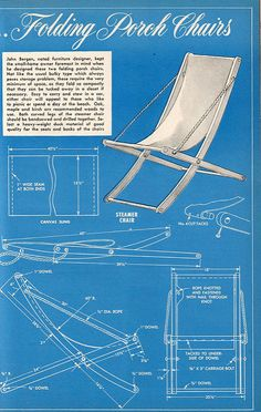 Vintage porch chair plans   From Popular Mechanics magazine,…   Flickr