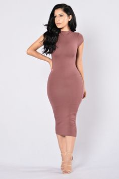 - Available in Mint, Red Brown, and Heather Grey - Mock Neck - Sleeveless - Midi Length - Lined - Cap Sleeve - Made in USA - 95% Viscose 5% Spandex - Lining: 95% Rayon 5% Spandex