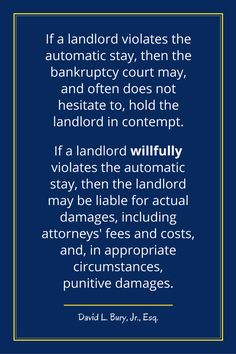 """Two important exceptions to the """"automatic stay"""" were added by Congress in 2005 for residential leases under Section of the Bankruptcy Code."""