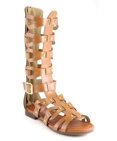Take a look at this Tan Tall Studded Gladiator Sandal on zulily today!