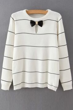 Striped Bow Tie Cut Out Long Sleeves Sweater