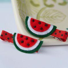Felt Watermelon Hair Clip (single). $3.25, via Etsy.