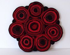 #Upcycled Tablemat, #Standing Wool Rug Mat, #Wool Coaster made from recycled wool sweaters SewFreshAgain at Etsy.com