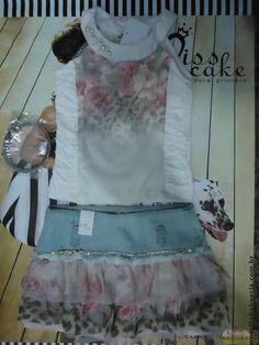 Conjunto Blusa com Saia Jeans Miss Cake Doce Princesa