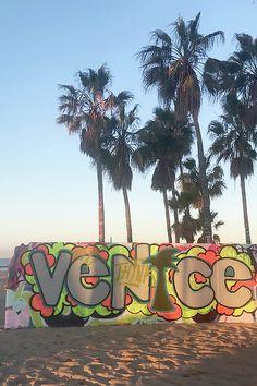 Think Venice by Art Block Collections Venice Painting, Burger Restaurant, Venice Beach, Pacific Ocean, One Light, Artist Art, Palm Trees, Cool Art, Germany