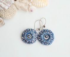 Blue dangle earrings/ polymer clay earrings/ polymer clay, silver, pearls by FavoriteDream