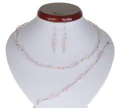 BIŻUTERIA ŚLUBNA KOMPLET ŚLUBNY wieczorowy posrebrzany kryształki bicone różowy pudrowy KP197 Beaded Necklace, Jewelry, Fashion, Beaded Collar, Jewlery, Moda, Pearl Necklace, Jewels, La Mode