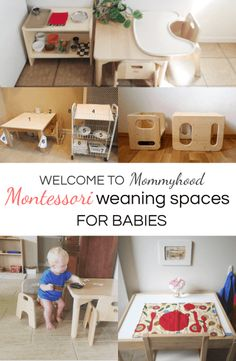 Examples of Montessori weaning tables for babies starting to eat solids. Ideas for setting up a Montessori eating area for a baby. Montessori Toddler Rooms, Montessori Bedroom, Montessori Activities, Infant Activities, Ikea Montessori, Montessori Homeschool, Toddler Classroom, Montessori Practical Life, Home Daycare