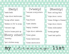 Free Printable Cleaning List on www.girllovesglam.com