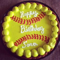 Softball Cookie cake for softball birthday party! Birthday Cake Cookies, Softball Birthday Parties, Softball Party, Softball Coach, Softball Players, Girls Softball, Fastpitch Softball, Softball Stuff, Softball Hair