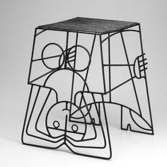 nobrashfestivity:  John Risley, Iron Side Table-Stool, 1950s.
