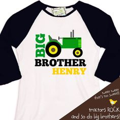 big brother shirt tractor BLOCK print  RAGLAN  perfect pregnancy announcement for the big brother to be on Etsy, $22.50