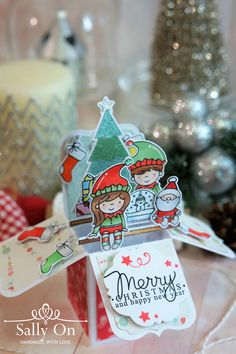Box card using Elf and Their Shelf from Neat And Tangled stamp set.  Sentiment from Merry Greeting Mama Elephant stamp set.