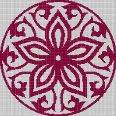 RED-DEEP+MOSAIY+TAPESTRY+STYLE+CROCHET+AFGHAN+PATTERN+GRAPH