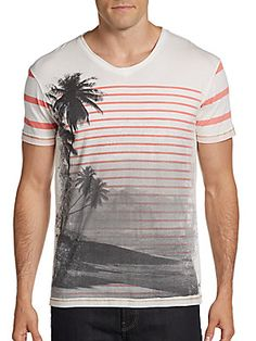 Striped Scenic Print Cotton Tee